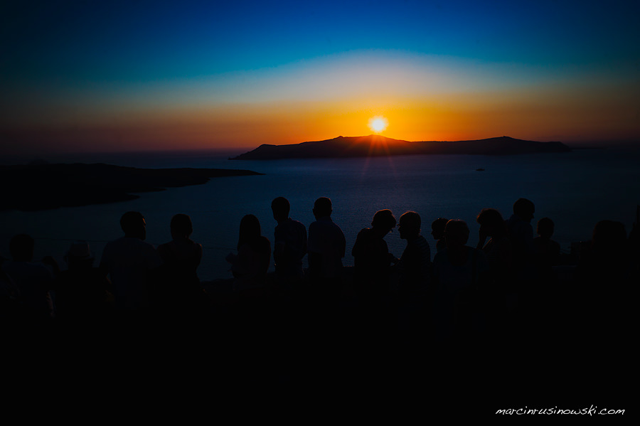 sundown in Fira towards Palea Kameni Santorini Marcin Rusinowski wedding